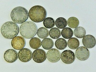 Canada Early Silver Coin Collection - .05c , .10c , .25c - 1871, 1872 , 1874 etc