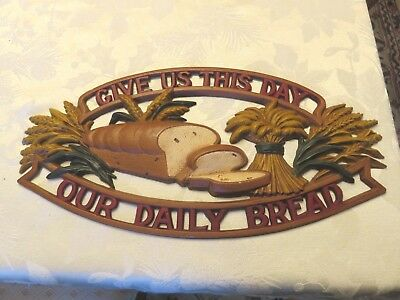 Vintage SEXTON WALL PLAQUE Give Us This Day Our Daily Bread METAL Hanging WHEAT