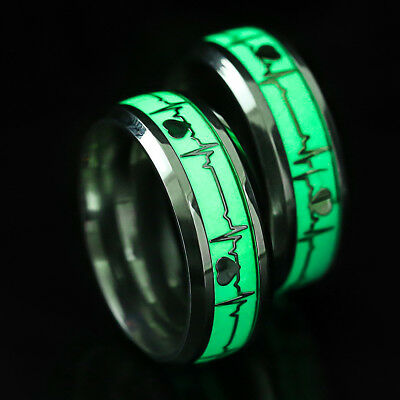 Men Finger Fluorescent Party Stainless Steel Ring Personalized Magic Jewelry