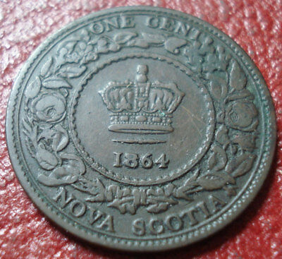 1864 Nova Scotia Large Cent In Vg Condition