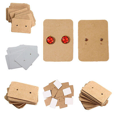 100 Pcs Jewelry Ear Studs Hanging Display Holder Kraft Earring Cards 2.5x3.5CM