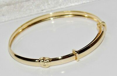 NEW Solid 9ct Gold Diamond Teddy Bear Expanding Baby Bangle ~ UK Hallmarked