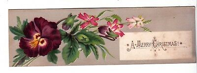 A Merry Christmas Bookmark Purple Pansy Vict Card c1880s