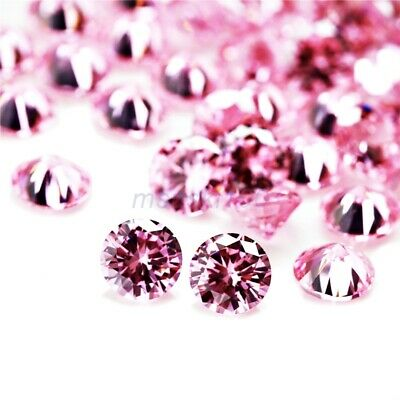 LIGHT PINK Cubic Zirconia Loose Stones Crystal CZ Round Brilliant bead gems