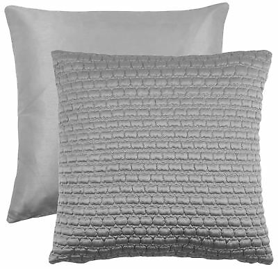 """2 X Quilted Faux Silk Silver To Match Duvet 18"""" - 45Cm Cushion Covers"""