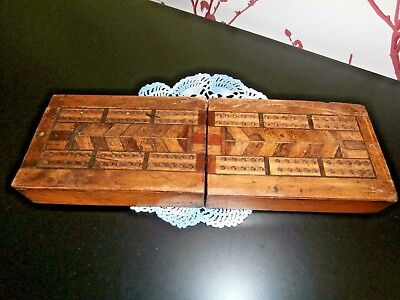 Old Antique Hand Crafted Marquetry Inlaid Wooden Folding Cribbage/games Box