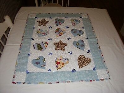 """BABY QUILT/28"""" by 22""""/Blue, Yellow, White/Christmas Theme/Hand made/Great Shape"""