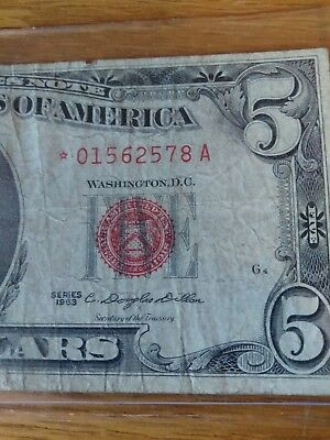 Series 1963 $5 Red Seal STAR Note *01562578A
