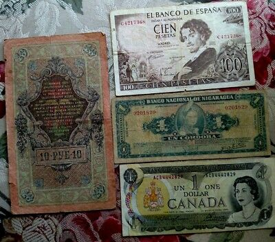4 World Banknote collection Russia ,Nicaragua,Spain ,Canada