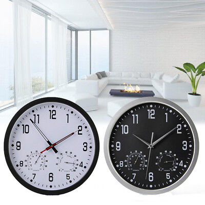 Silent Weather Station Wall Clock Hygrometer Thermometer Bedroom Living Room UK
