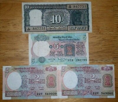 India 1970-1980 Lot of 4pcs Note.