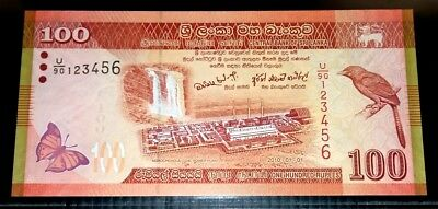 Sri Lanka 2010 100 Rupees UNC Note with Ladder No 123456.