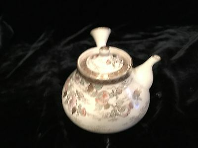 "Antique Meiji Japanese satsuma saki pot signed 5"" over handle US Customs label"
