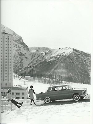 Fiat 2300 Saloon Original Photograph Girls in 1960's Clothes Fur Hat in Snow
