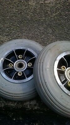 Pair of Shoprider Monaco Front Wheels in good condition.Solid Tyres 200x50