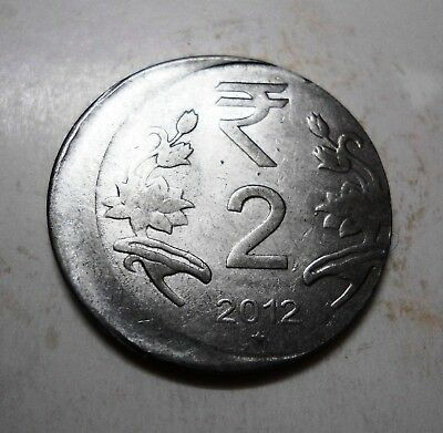 Republic India - 2 Rupees 2012 - Hyderabad Mint -  Die Shift Error Coin