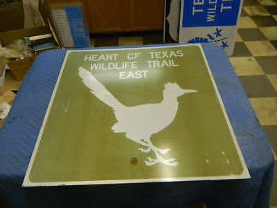 Retired Heart Of Texas Wildlife Trail East Sign Man Cave Restaurant Decor