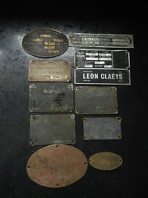 Collection of vintage original metal plaques off machinery
