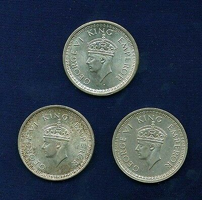 India British George Vi Silver Rupee Coins: 1942, 1944, 1945 Almost Uncirculated