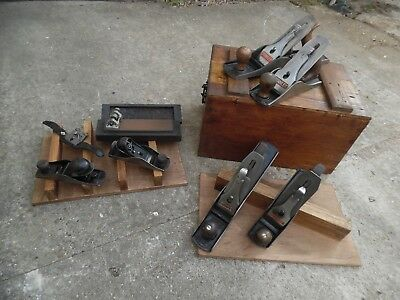 Vintage Tool Box with Set of Vintage Stanley Bailey Planes
