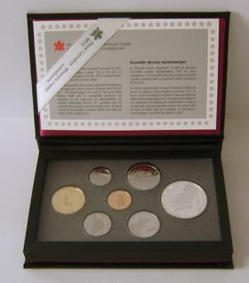 A 1992 Canadian 7 Coin Proof Set With Silver Dollar & COA