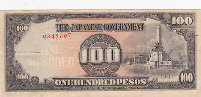 100 Pesos Vf Banknote From Japanese Occupied Philippines 1944!pick-112!