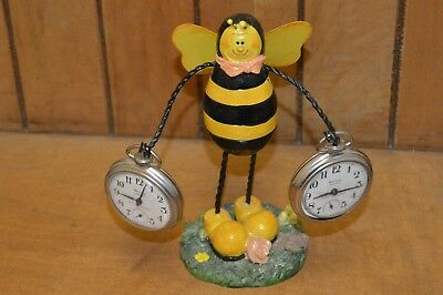 Collectible Vintage Wood & Wire Bumble Bee Pocket Watch Holder Display #M