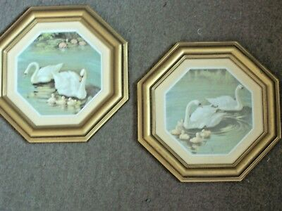 Vtg 1984 Homco Home Interior Gold Octagon Wall Accent Swan Pictures