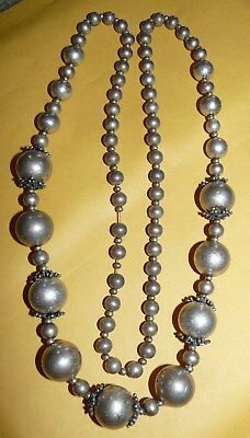 "~VTG~STERLING~SILVER~GRADUATED~BEADS~BEADED~34""~CONTINUOUS~STRAND~NECKLACE~67.7g"