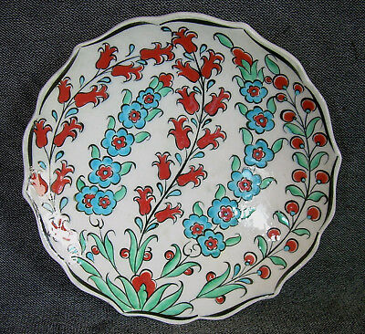"Vintage 7"" Turkish Kutahya Pottery FLORAL BRANCHES Artist Signed Plate Turkey"