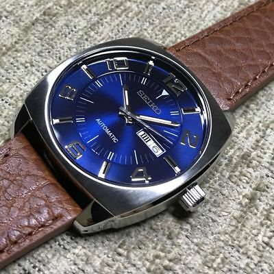 promo code 5bac3 3f6ee SEIKO MENS RECRAFT Series Blue Dial Brown Leather Strap Automatic WATCH  SNKN37