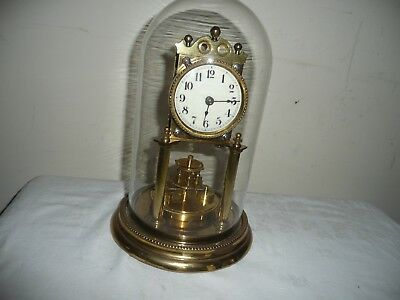 Juf Standard Early Anniversary Clock in Glass Dome, Excellent Condition.
