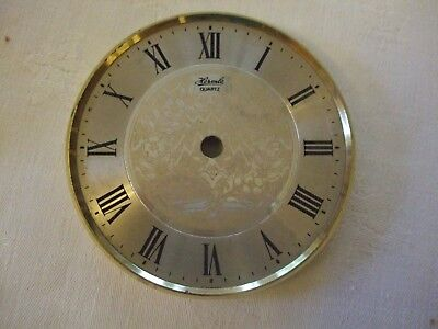 Vintage Hermle Quartz Clock Dial/Face - Gold with Roman numerals