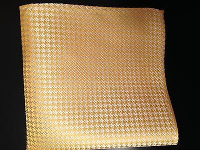 """New 10"""" 100% Silk  Pocket Square Yellow Houndstooth"""
