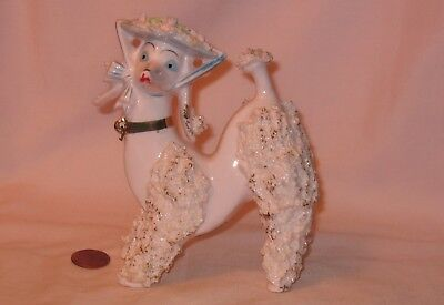Vintage Pink Ceramic Spaghetti Poodle Dog With Floral Hat; Made In Japan