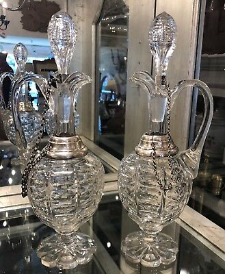 Unusual Pair of Antique Sterling Silver Mounted Irish Cut Glass Decanters