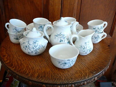 ANTIQUE 1890 VICTORIAN STAFFORDSHIRE TRANSFERWARE 24 Piece CHILDS TOY TEA SET