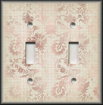 Metal Light Switch Cover Vintage Rose Pink Flowers With Grid Lines Home Decor
