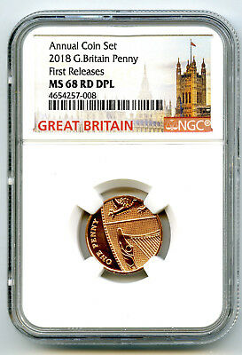 2018 Great Britain 1P Ngc Ms68 Dpl Proof Like Penny Annual First Release Top Pop