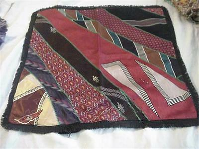 Funky Vintage Pillow Cover Made of Wide Silk Ties Embroidered Like Crazy Quilt