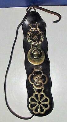 Vintage Leather Strap with 4 Brass Horse Medallions