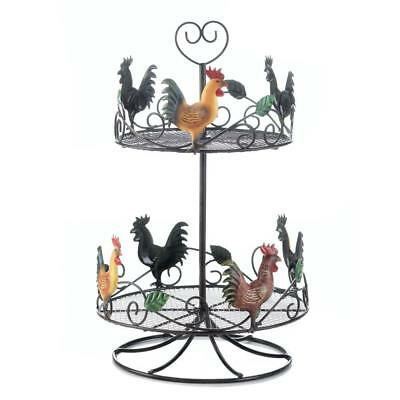 Rooster 2 Tier Countertop Rack Lazy Susan Metal Kitchen Gift Decor SMC 10017558