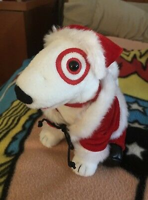 Target Christmas Santa Dressed Up Bullseye Dog with Santa Outfit !