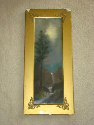 Antique Framed Primitive CHALK PAINTING, Waterfall & Stream by Moonlight