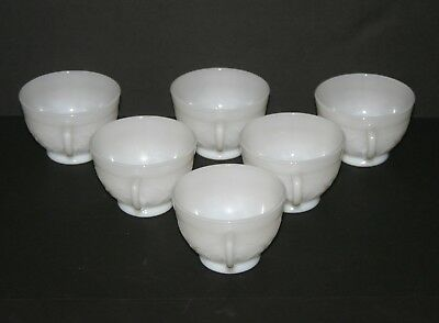 6 Vintage French Opaline Milk Glass Coffee Espresso Cups, Raised Flowers & Vines