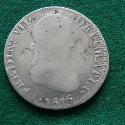 1816 Mexico Spanish Colonial Silver 8 Reales Zs AG Zacatecas
