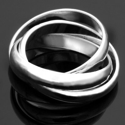 Silver Plated Ring Triple Interwoven Band Infinify Ring Statement Three Thumb