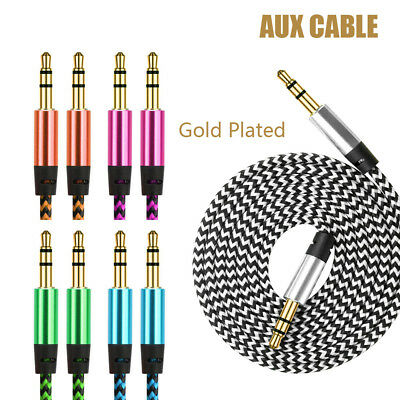 Braided Gold Plated 3.5MM Jack Male To Male Audio Cable AUX Cord For Car Phone