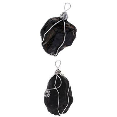 2x Wire Wraped Natural Black Tourmaline Pendant Energy Crystal Stone Gifts