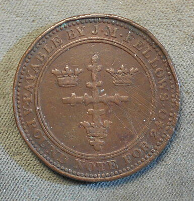 Nottingham England J.M Fellows & Co 1812 One Penny Withers-941